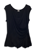Plus size Drape Front Layered Top Black
