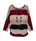 Plus Size Color Block Long Sleeve Top with Necklace Detail Burgundy