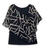 Plus size Layered Poncho Top Abstract Print Black