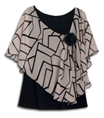 Plus size Layered Poncho Top Abstract Print Taupe