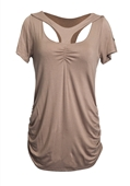 Plus Size Off Shoulder Racer Back Tunic Top Taupe