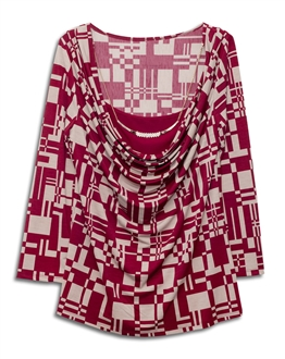 Plus size Layered Long Sleeve Top With Necklace Detail Abstract Print Burgundy