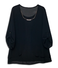 Plus size Layered Long Sleeve Chiffon Necklace Top Black