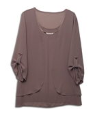 Plus size Layered Long Sleeve Chiffon Necklace Top Taupe