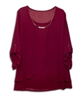Plus size Layered Long Sleeve Chiffon Necklace Top Burgundy