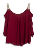Plus size Off Shoulder Chain Strap Top Burgundy
