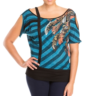 Plus Size Designer Print Off Shoulder Top Teal