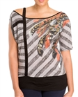 Plus Size Designer Print Off Shoulder Top Gray