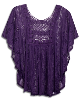 Plus Size Crochet Poncho Top Purple