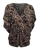 Plus Size Low Cut V-Neck Slimming Top Designer Print Taupe