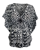 Plus Size Low Cut V-Neck Slimming Top Designer Print White