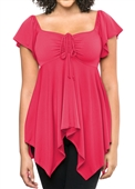 Plus size Deep V-neck Asymmetric Slimming Top Hot Pink