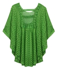 Plus Size Sheer Crochet Poncho Top Green