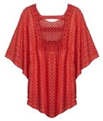 Plus Size Sheer Crochet Poncho Top Coral