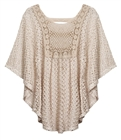 Plus Size Sheer Crochet Poncho Top Mocha