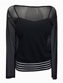 Plus Size Square Neck Mesh Yoke Long Sleeve Top Black