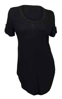 Plus Size Pocketed Ballet Tunic Top Black
