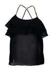Plus Size Racer Back Ruffled Flounce Mesh Top Black