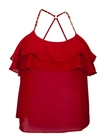 Plus Size Racer Back Ruffled Flounce Mesh Top Red