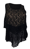 Plus size Layered Lace Sleeveless Top Black
