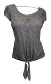 Plus size Front Tie Scoopneck Top Gray