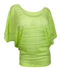 Plus Size Sheer Scoopneck Top Lime