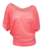 Plus Size Sheer Scoopneck Top Coral