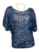 Plus Size Sheer Dolman Sleeve Top Blue with Detachable Necklace
