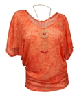 Plus Size Sheer Dolman Sleeve Top Orange with Detachable Necklace