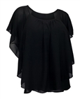 Plus size Layered Chiffon Top Black