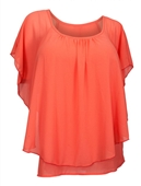 Plus size Layered Chiffon Top Coral