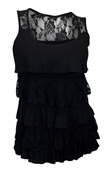 Plus Size Tiered Ruffle Tank Top Black