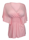 Plus Size Slimming V-neck Smocked Empire Waist Top Baby Pink