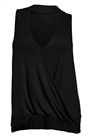 Plus Size Sleeveless Drape Front Top Black