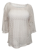 Plus Size 3/4 Sleeve Sheer Crochet Lace Top Taupe