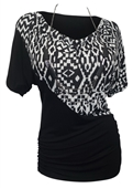 Plus Size Short Sleeve Cowl Neck Top Abstract Print