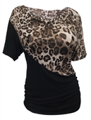 Plus Size Short Sleeve Cowl Neck Top Animal Print