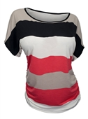 Plus Size Color Block Stripe Top Red