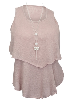 Plus Size Tiered Knit Top Pink