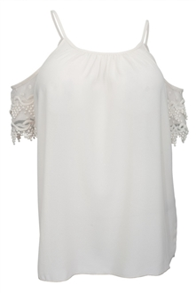 Plus Size Off Shoulder Crochet Sleeve Top Ivory