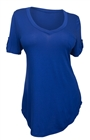 Plus Size Pocketed Ballet Tunic Top Royal Blue