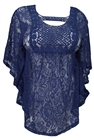 Plus Size Sheer Crochet Floral Lace Poncho Top Navy