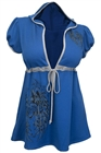Plus Size Angel Wing Hoodie Top Royal Blue