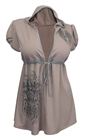 Plus Size Angel Wing Hoodie Top Mocha