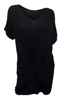 Plus Size Asymmetric Draped Front Asymmetric Tunic Top Black