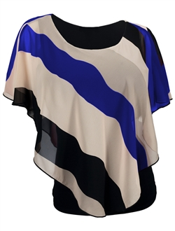 Plus Size Layered Poncho Top Stripe Print Royal Blue