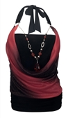 Plus size Glitter Print Necklace Accented O-ring Strap Top Coral