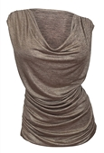 Plus Size Cowl Neck Shimmering Top Gold