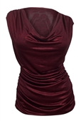 Plus Size Cowl Neck Shimmering Top Burgundy
