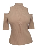 Plus Size Ribbed Off Shoulder Top Taupe